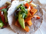 Sweet Potato Tacos in Black Bean Tortillas