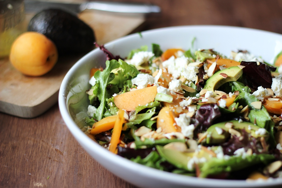 Apricots, Avocado, and Almond Salad with Garlicky Lemon Vinaigrette