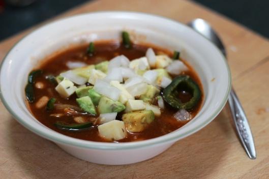 Poblano and White Bean Tortilla Soup