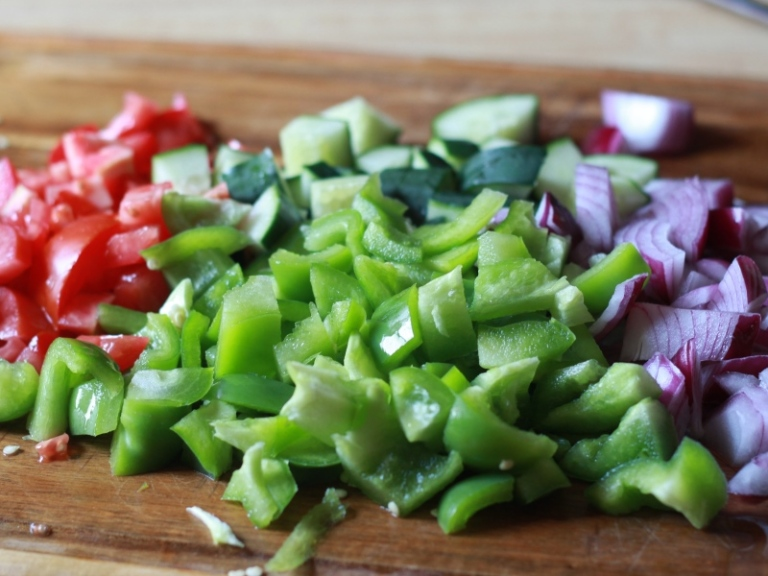 Colorful Veggies for Greek Pasta Salad