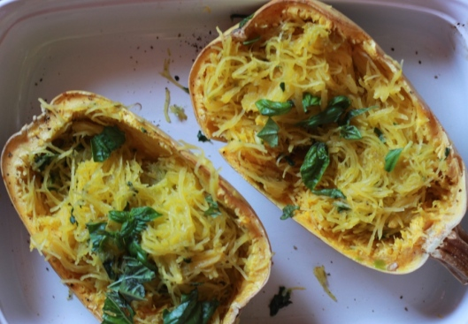 Roasted Spagetti Squash with Basil Pesto