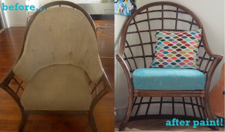 painted chair front before paint