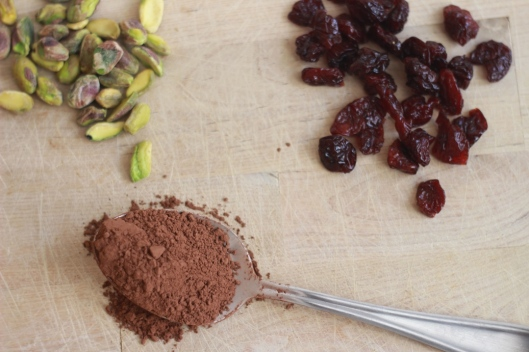 raw pistachio cherry chocolate snack balls ingredients