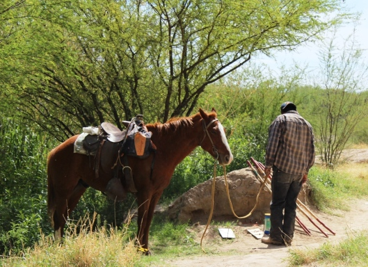 Mexicans cross the border on horses to sell handmade goods along the Boquillas Canyon Trail