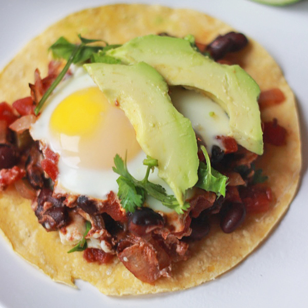 Baked Huevos Rancheros on tortillas