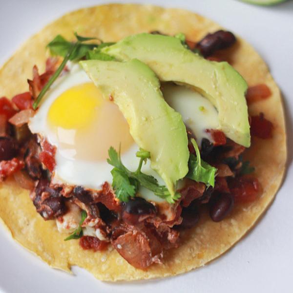 Baked Huevos Rancheros on tortillas