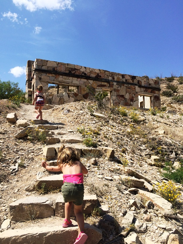 exploring the ruins at the Hot Springs