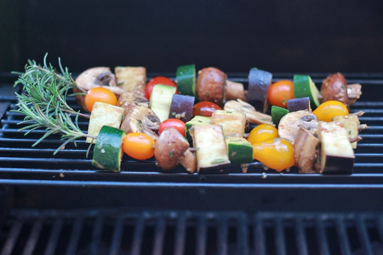 Rosemary Skewers on the grill