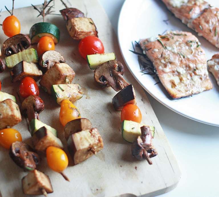 Rosemary Skewers with Salmon