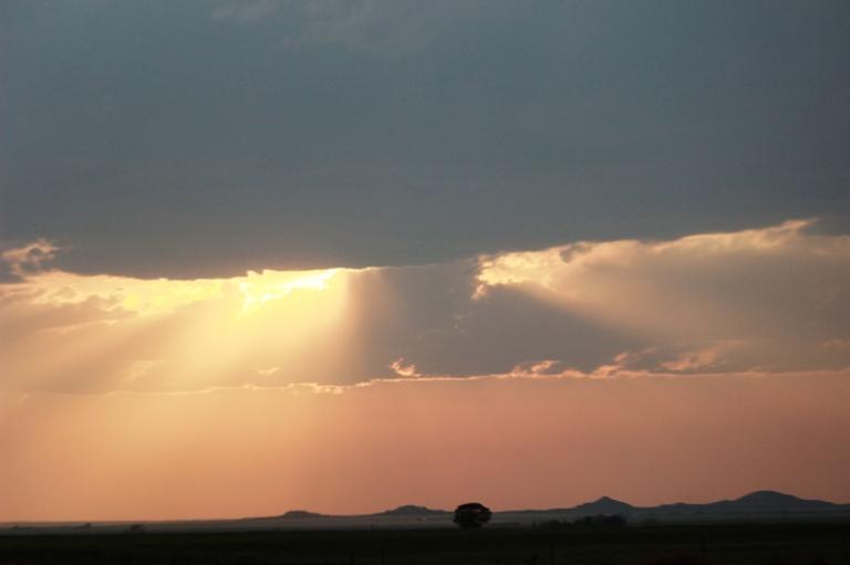 Sun Shining Through the Clouds at Medicine Mound Texas