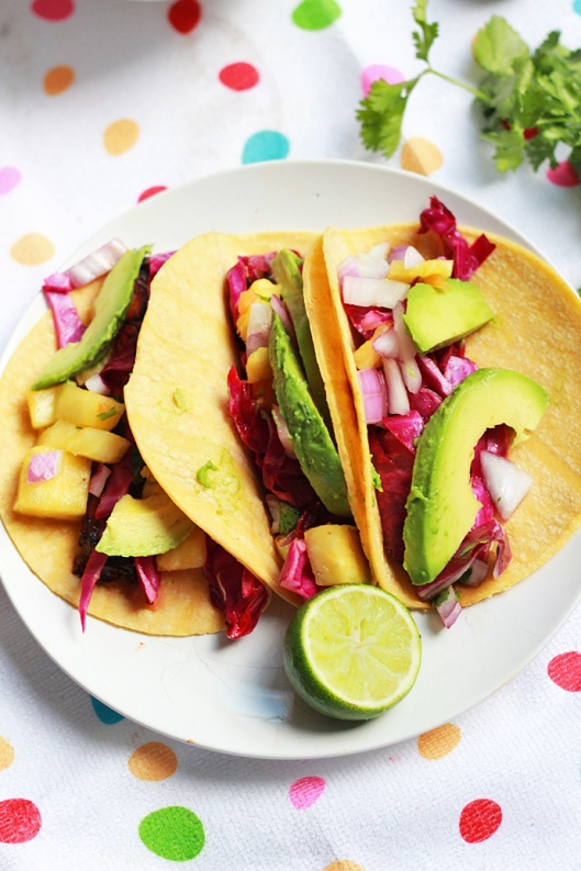 Adobo Lime Portabello Tacos with Avocado and Pineapple Salsa