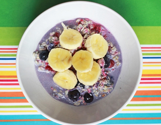 Berry Overnight Oats with Banana Slices