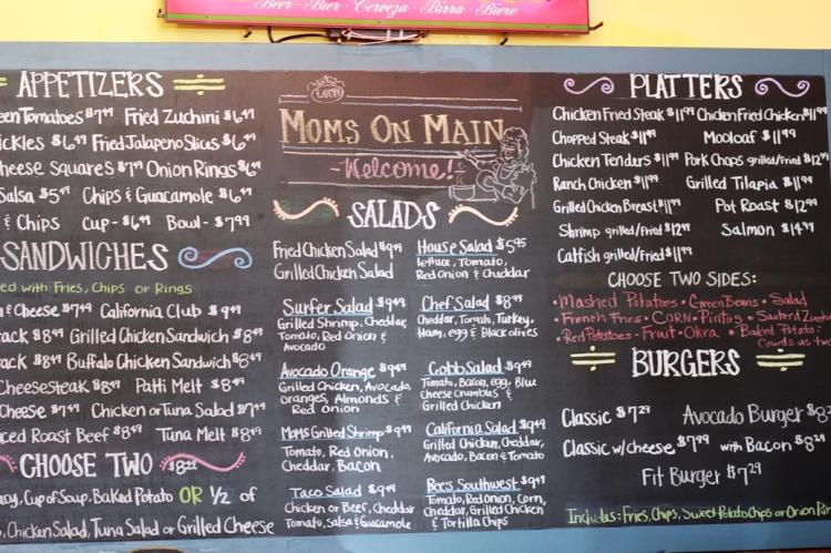 Chalkboard Menu at Mom's on Main