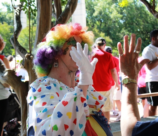Clown at the finish line
