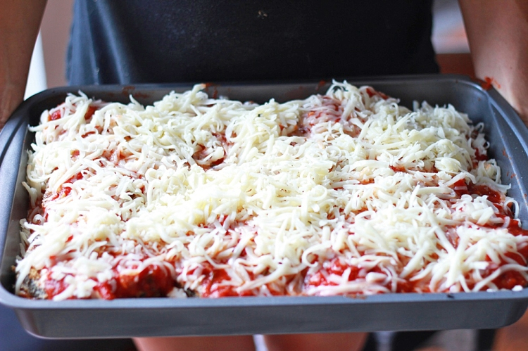 Eggplant Parmesan Ready for the Oven