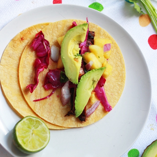 Grilled Portabello Tacos with Pineapple Salsa