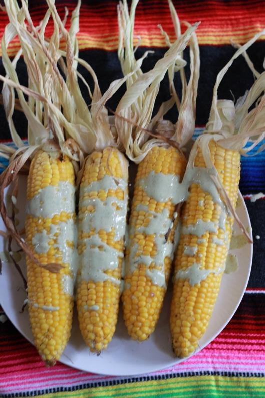 Grilled corn with cilantro lime cream