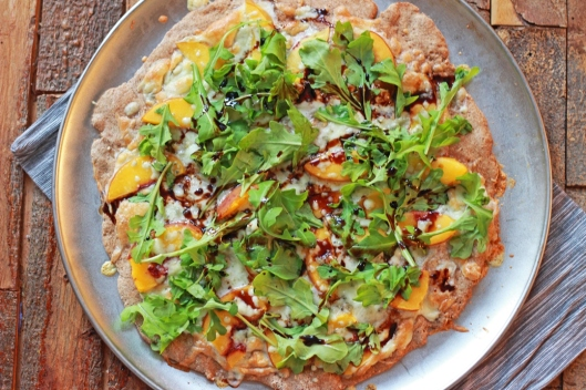 Peach Pizza  with Arugula, Gorgonzola, and Balsamic Drizzle